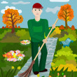Stock Vector: Janitor sweeps alley