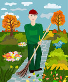 Janitor sweeps alley — Stock Vector