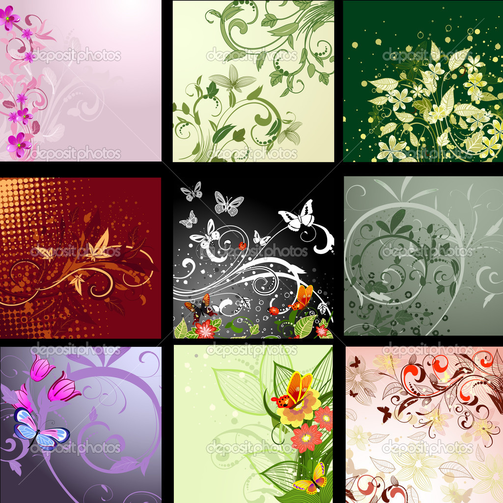 Background patterned set — Image vectorielle #3778989