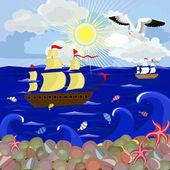 Zonnige dag op zee — Stockvector