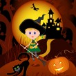 The little witch on a broom — Stock Vector