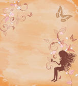 Grunge background with a fairy — Stock Vector