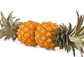 Pair pineapple cut on a white — Stock Photo