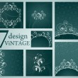 Set of Vintage Floral Frame — Stock Vector