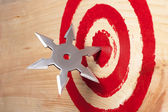 Target and the throwing weapon close up. — Stock Photo