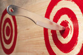 Target and throwing knife close up. — Stock Photo