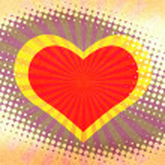Heart halftone grunge background. — Stock Photo
