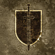 Board and sword on a grunge background. -  