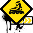Grunge sign with roller skates. — Stock Vector