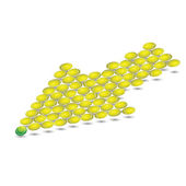 Yellow arrow from tennis balls. Vector — Stock Vector