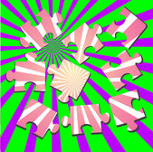 3-d un rompecabezas. ilustración vectorial — Vector de stock