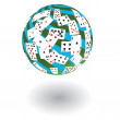 3d a sphere from playing cards. Vector illustration — Stock Vector