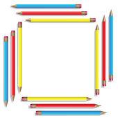 Sixteen color pencils. Vector illustration — Stock Vector