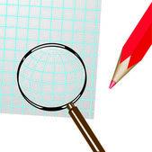 Lupe, stift und blatt paper.vector abbildung — Stockvektor