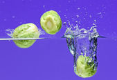 Brussels sprouts falling in water — Stock Photo