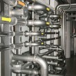 Filter equipment with many metal pipes — Stok fotoğraf