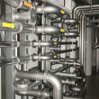 Filter equipment with many metal pipes - Stock Photo