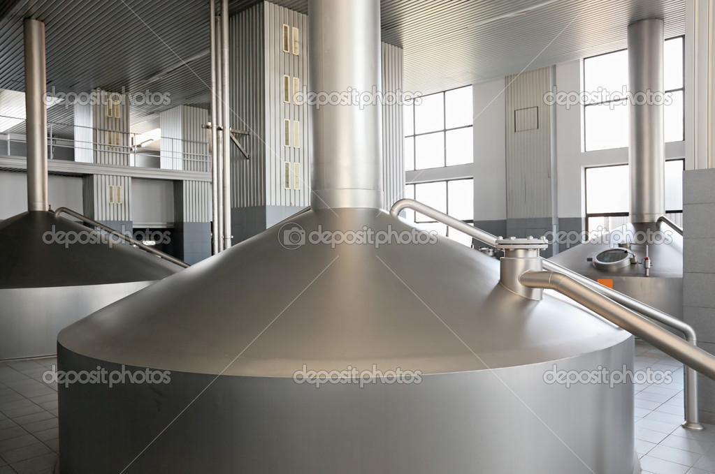 Brewery metal capacity equipment in factory workshop  Stock Photo #2754400