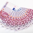 500 Euro bank notes fanned - Stock Photo