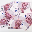 Many  bundle of 500 Euro bank notes - Stock Photo