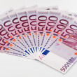 500 Euro bank notes fanned out - Stock Photo