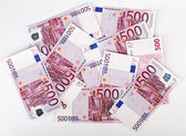 Many bundle of 500 Euro bank notes — Stock Photo