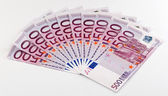 500 Euro bank notes fanned out — Stock Photo