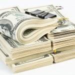 Many bundle of US 100 dollars — Stock Photo