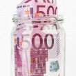 500 Euro bank notes in a glass jar — Stock Photo #3185141