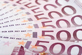 500 Euro fanned out, macro texture — Stock Photo