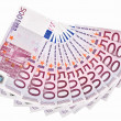 Royalty-Free Stock Photo: 500 Euro bank notes fanned out on a white background