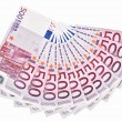 Stock Photo: 500 Euro bank notes fanned out on white background