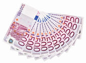 500 Euro bank notes fanned out on a white background — Stock Photo