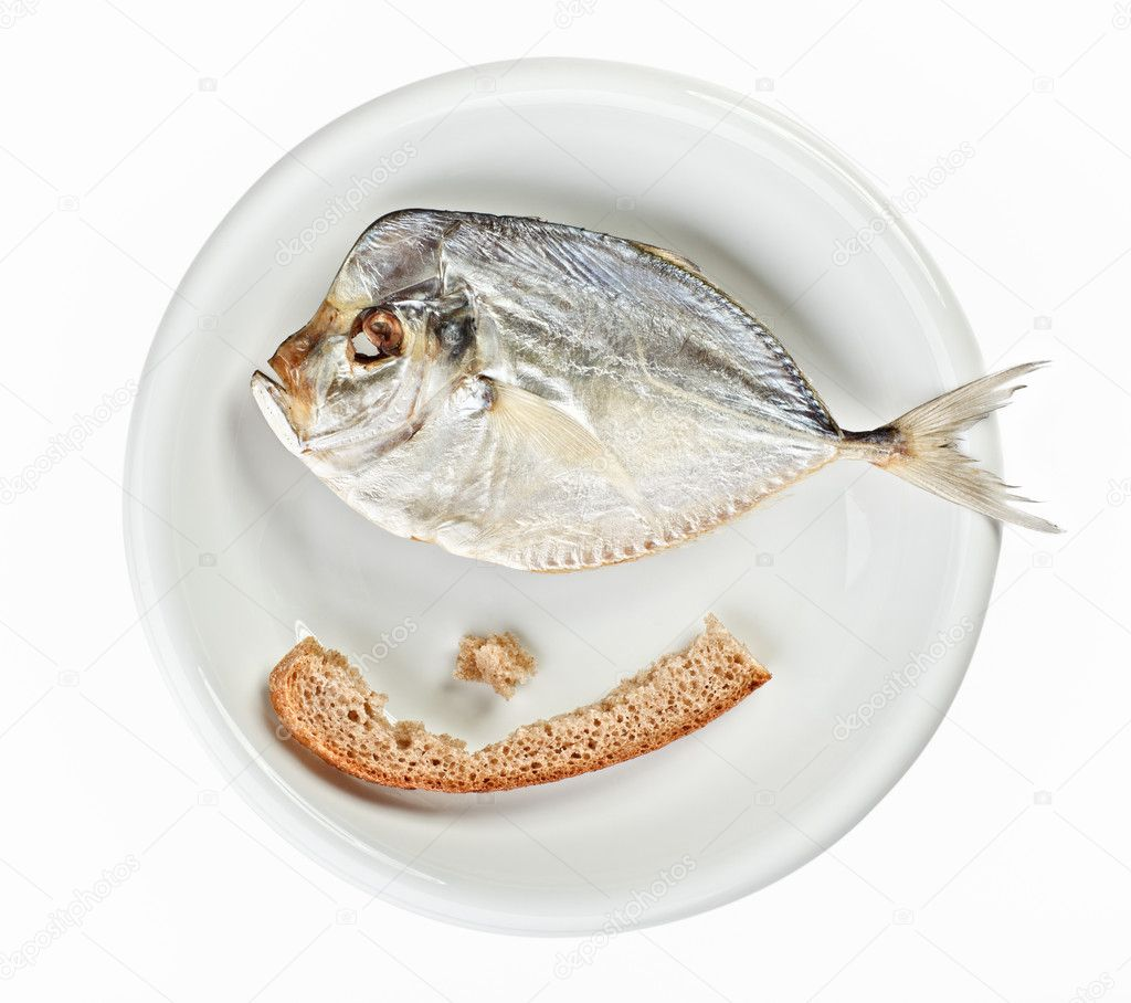 Salted moonfish with crust of bread on white plate isolated  over white  Stock Photo #3363013