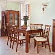 Dining room interior with classic wooden furniture — Stock Photo