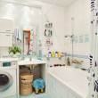 Modern small bathroom in blue colors wide angle view — Stock Photo