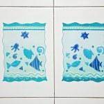 Blue bathroom ceramics tile pattern — Stock Photo #3478158