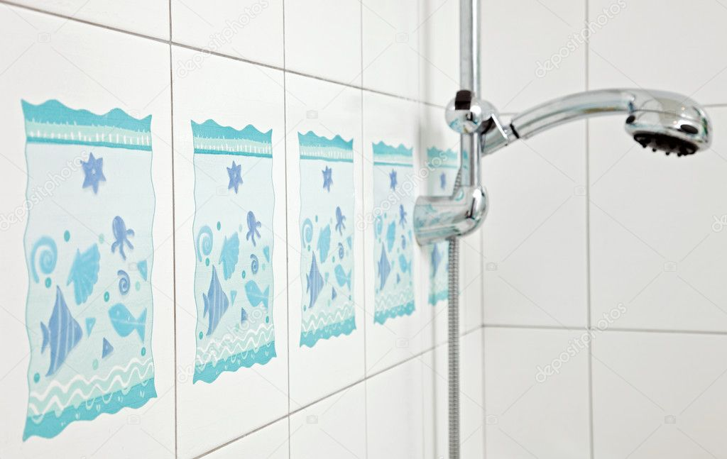 Blue bathroom ceramics tile and metal shower tap  Stock Photo #3478161