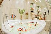 Bagno moderno in toni caldi con idromassaggio e petali di rosa — Foto Stock