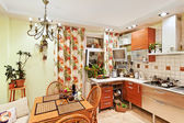 Kitchen interior with wooden furniture and many utensils — Foto de Stock