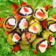 Stock Photo: Stuffed Egg plant (aubergine) rolls with paprika and mayonnaise