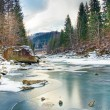 Winter landscape with blue water mountain river — Stock Photo