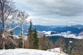 Winter Carpathian mountains landscape with overcast sky — Stock Photo