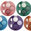Royalty-Free Stock Photo: Set of 5 multicolored eye shadows isolated on white