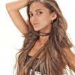 Face studio portrait of young pretty lady with long hairs on whi - Stock Photo