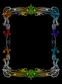Colourful frame on black background. — Stock Vector