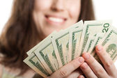 Dollar currency in hand — Stock Photo