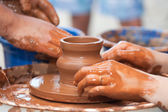 Clay potter hand — Stock Photo