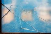 Broken window glass — Stock Photo