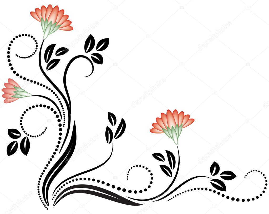 Decoration Flowers Drawings Decorative Flowers Ornament